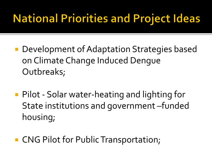National priorities and project ideas