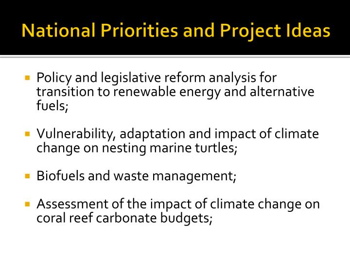 National priorities and project ideas3