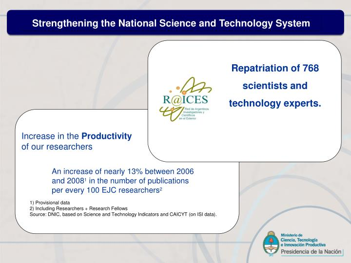Strengthening the National Science and Technology System