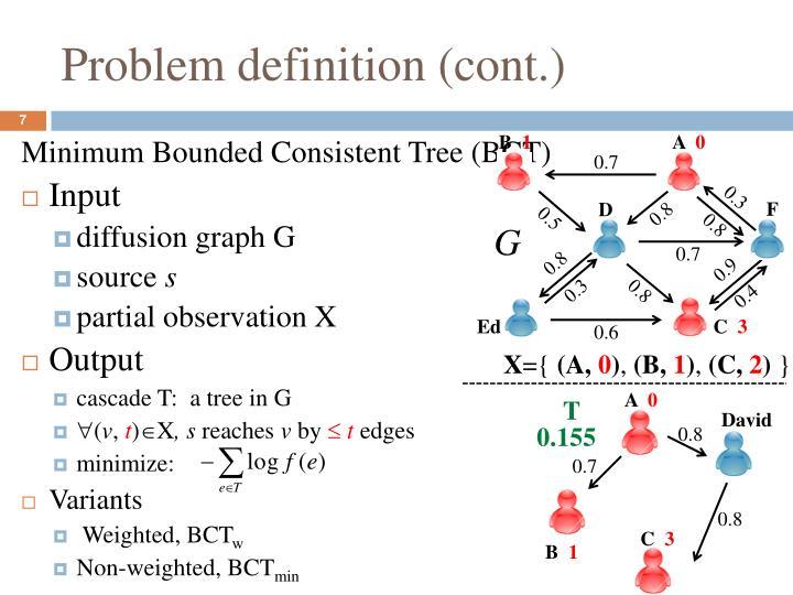 Problem definition (cont.)