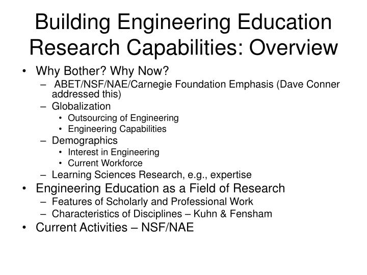 Building engineering education research capabilities overview
