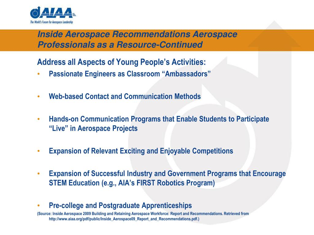 Inside Aerospace Recommendations Aerospace Professionals as a Resource-Continued