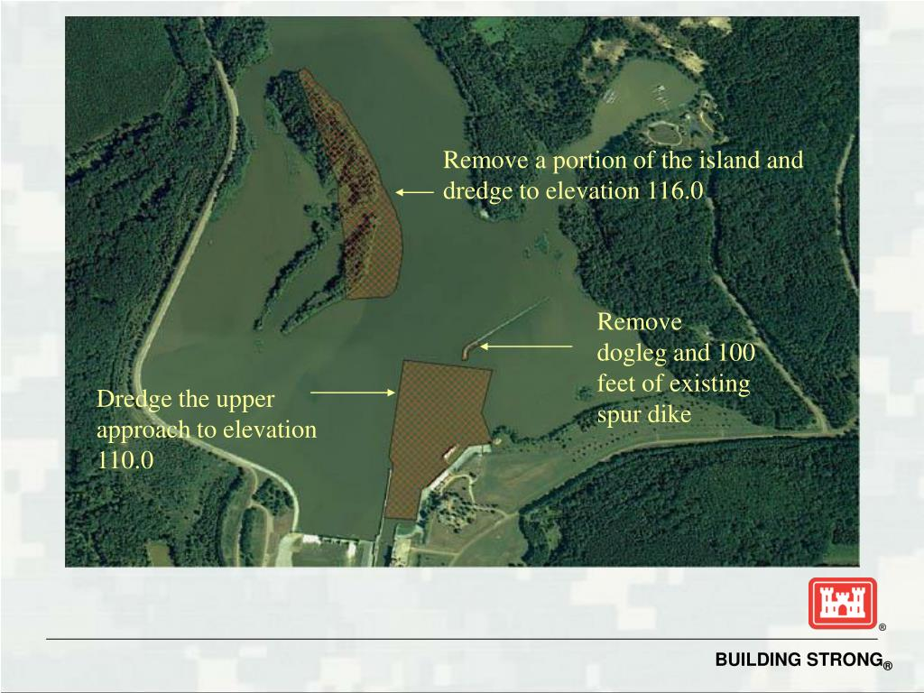 Remove a portion of the island and dredge to elevation 116.0