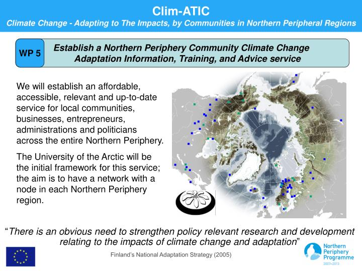 Establish a Northern Periphery Community Climate Change