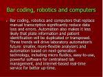 bar coding robotics and computers
