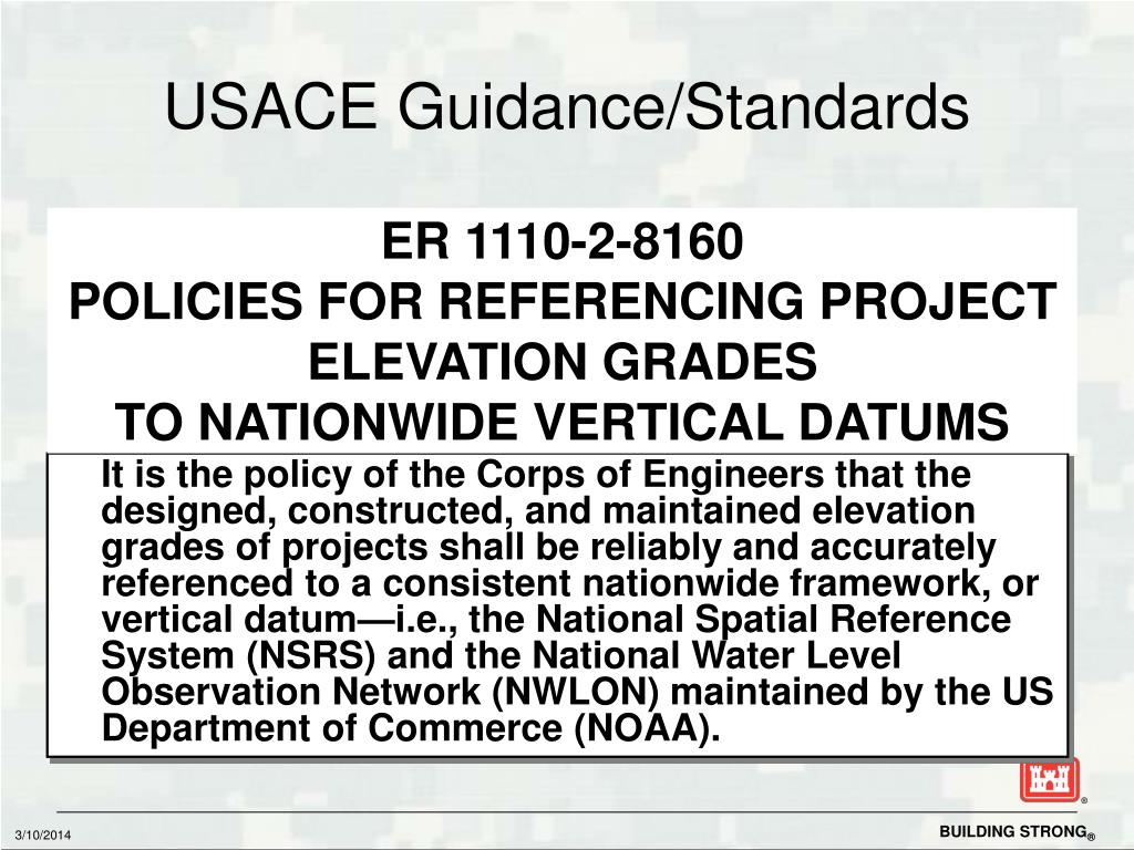 USACE Guidance/Standards