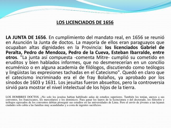 LOS LICENCIADOS DE 1656