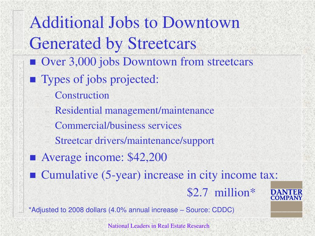 Over 3,000 jobs Downtown from streetcars