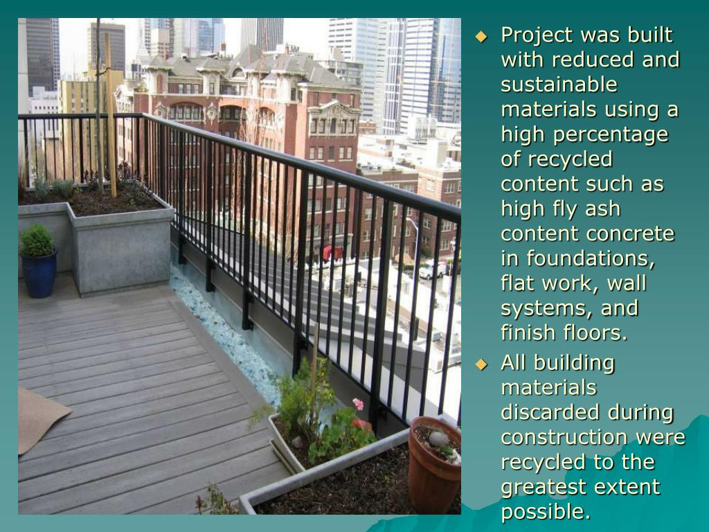 Project was built with reduced and sustainable materials using a high percentage of recycled content such as high fly ash content concrete in foundations, flat work, wall systems, and finish floors.