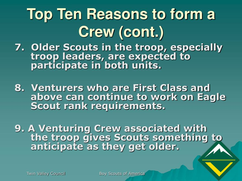 Top Ten Reasons to form a Crew (cont.)