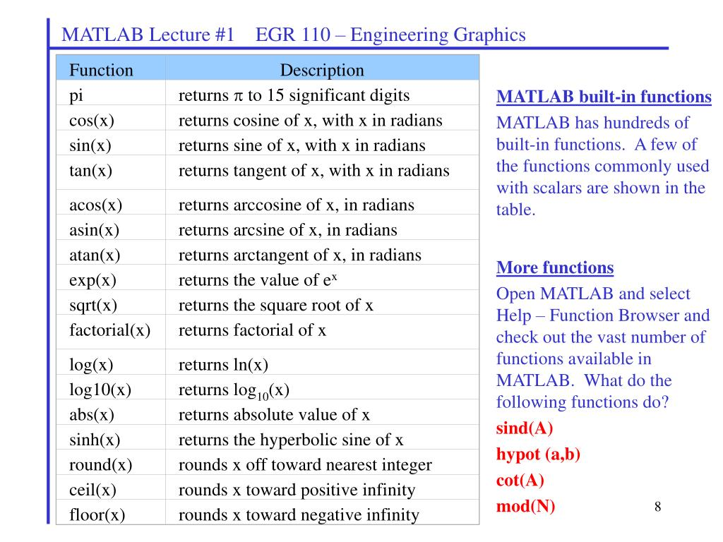 PPT - MATLAB Lecture #1 EGR 110 – Engineering Graphics