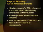 keys to reaching asian american parents