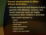 parent involvement in after school activities