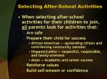 selecting after school activities