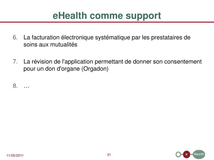 eHealth comme support