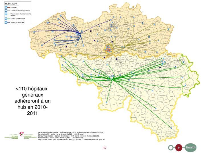 >110 hôpitaux généraux adhéreront à un hub en 2010-2011