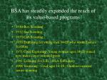 bsa has steadily expanded the reach of its value based programs