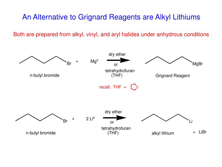 An Alternative to Grignard Reagents are Alkyl Lithiums