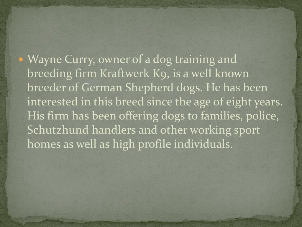 Wayne Curry, owner of a dog training and breeding firm Kraftwerk K9, is a well known breeder of German Shepherd dogs. He has been interested in this breed since the age of eight years. His firm has been offering dogs to families, police, Schutzhund handlers and other working sport homes as well as high profile individuals.