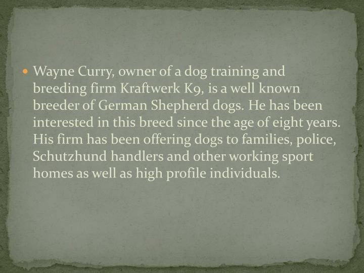 Wayne Curry, owner of a dog training and breeding firm Kraftwerk K9, is a well known breeder of Germ...