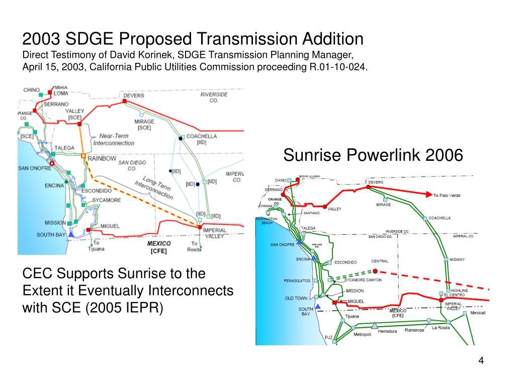 2003 SDGE Proposed Transmission Addition