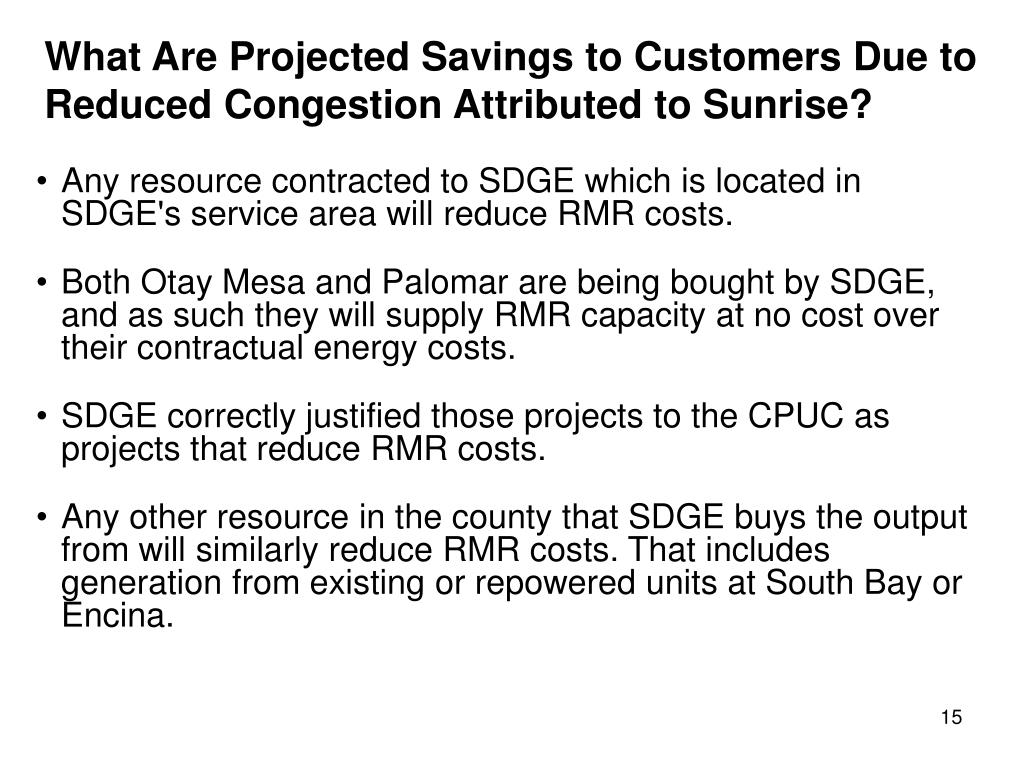 What Are Projected Savings to Customers Due to Reduced Congestion Attributed to Sunrise?