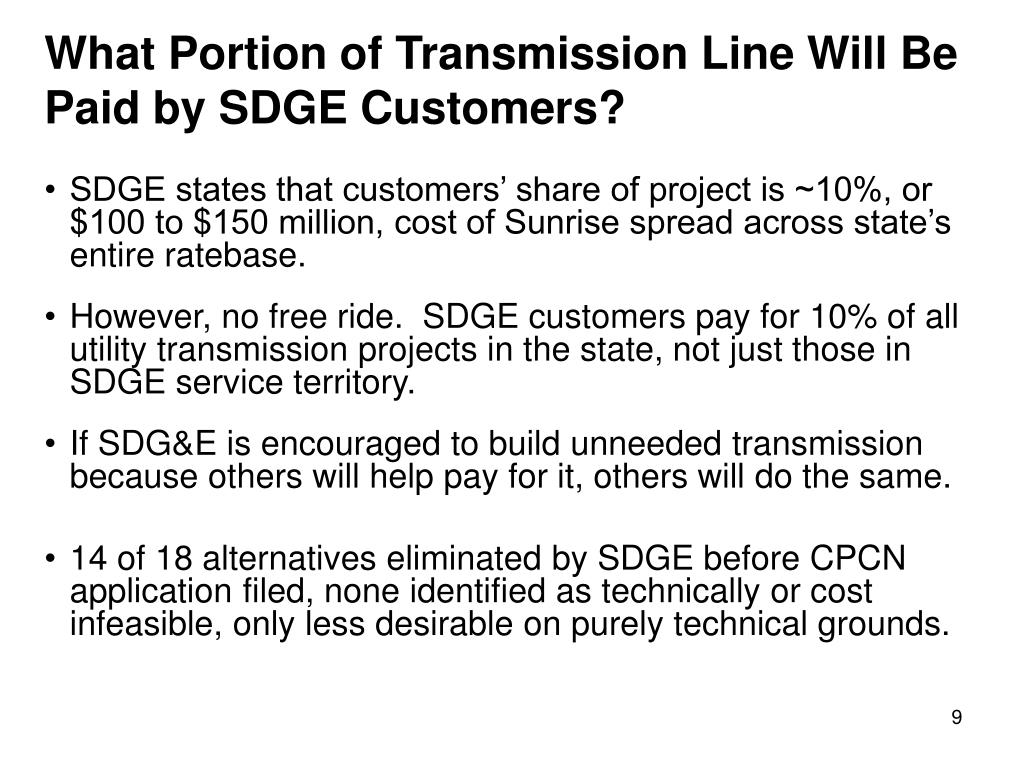 What Portion of Transmission Line Will Be Paid by SDGE Customers?