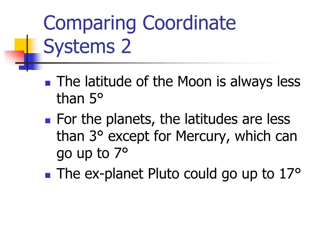 Comparing Coordinate Systems 2