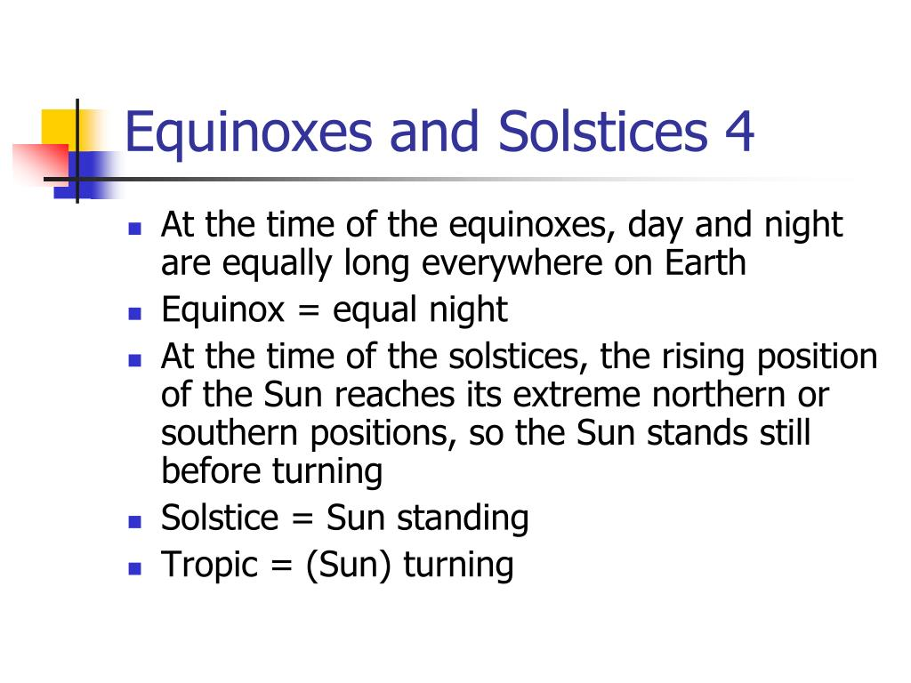 Equinoxes and Solstices 4