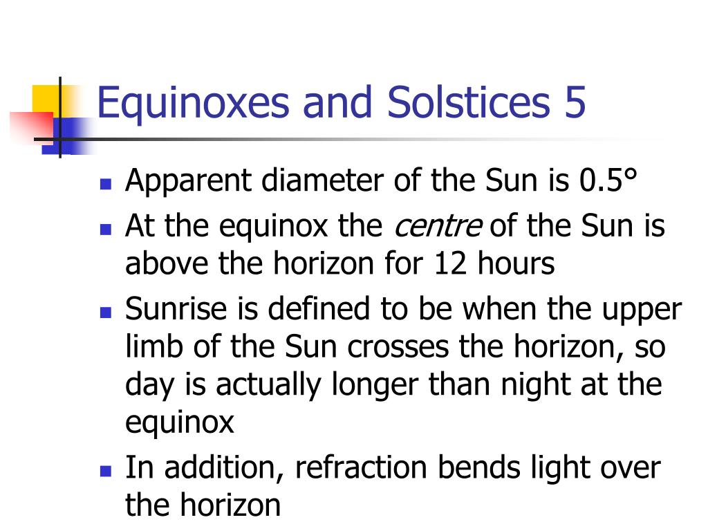 Equinoxes and Solstices 5