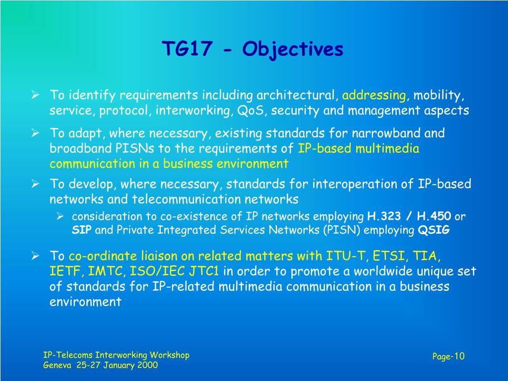 TG17 - Objectives