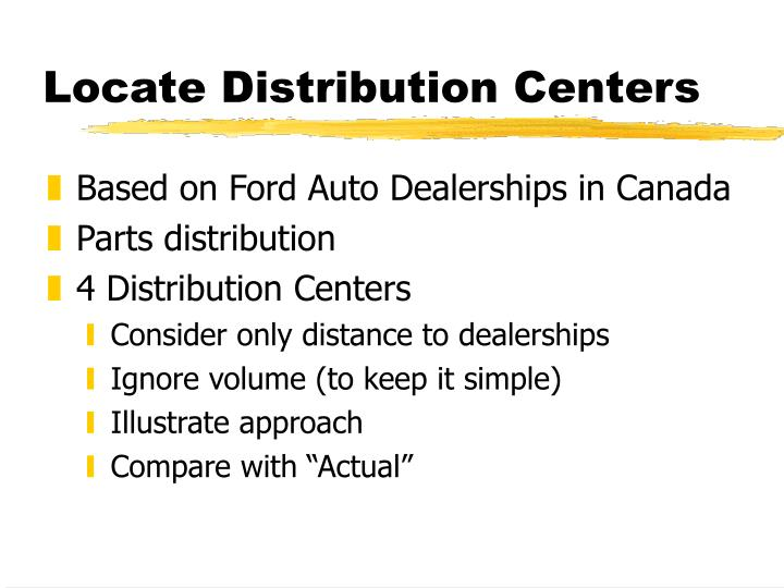 Locate Distribution Centers