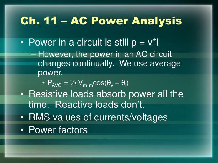 Ch. 11 – AC Power Analysis