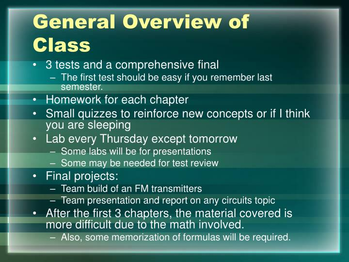 General overview of class