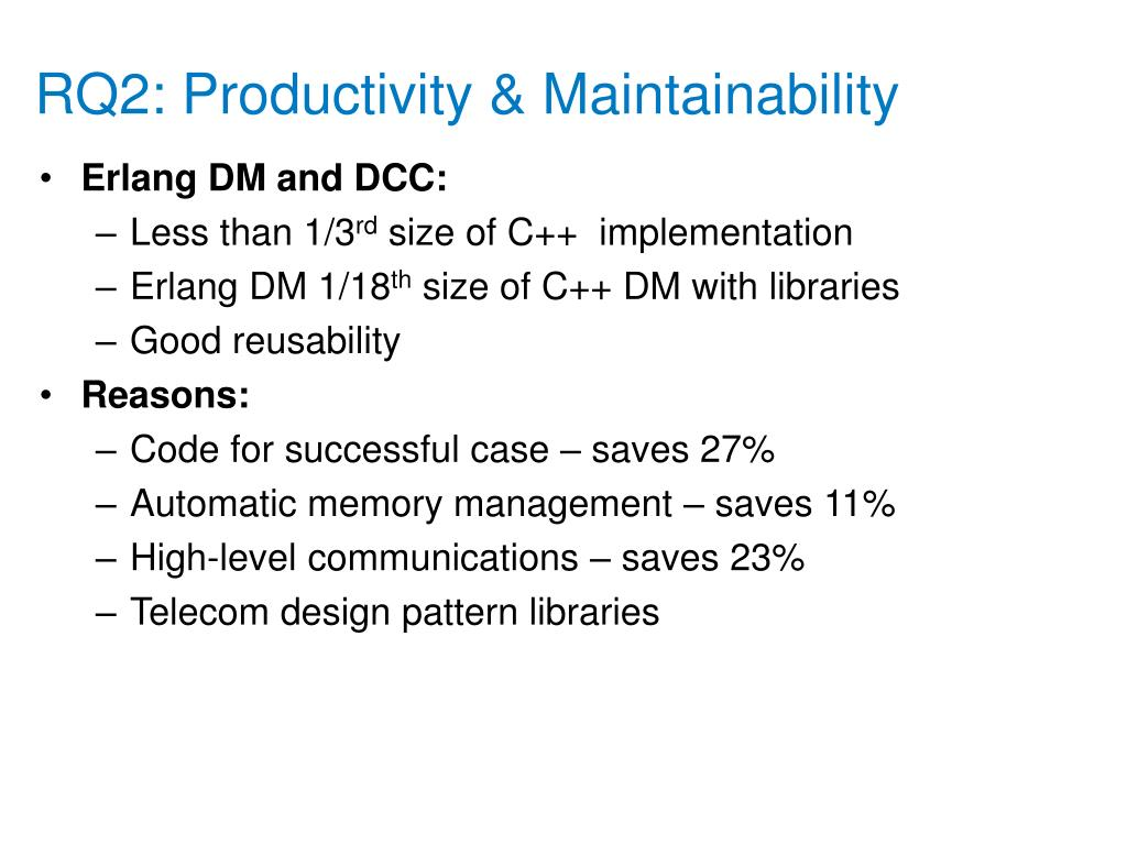 RQ2: Productivity & Maintainability