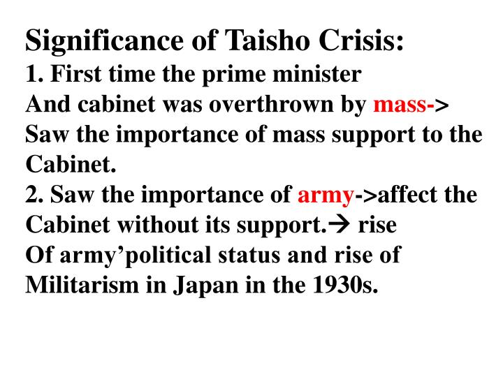 Significance of Taisho Crisis: