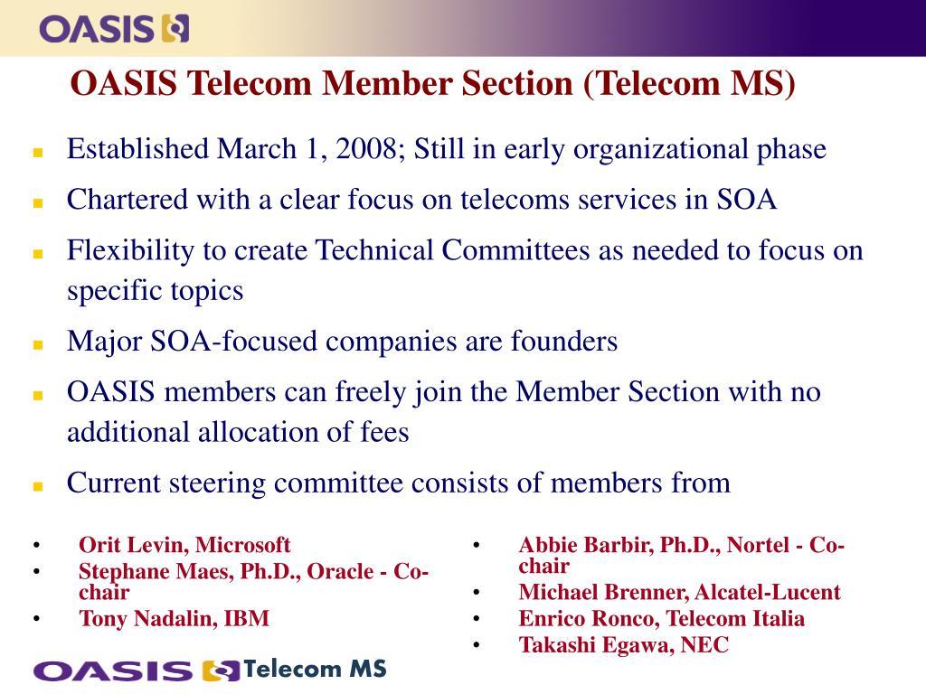 OASIS Telecom Member Section (Telecom MS)