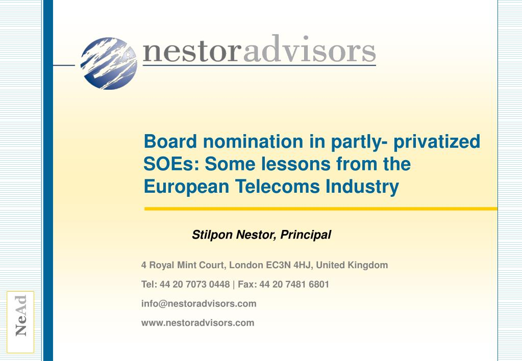 board nomination in partly privatized soes some lessons from the european telecoms industry l.