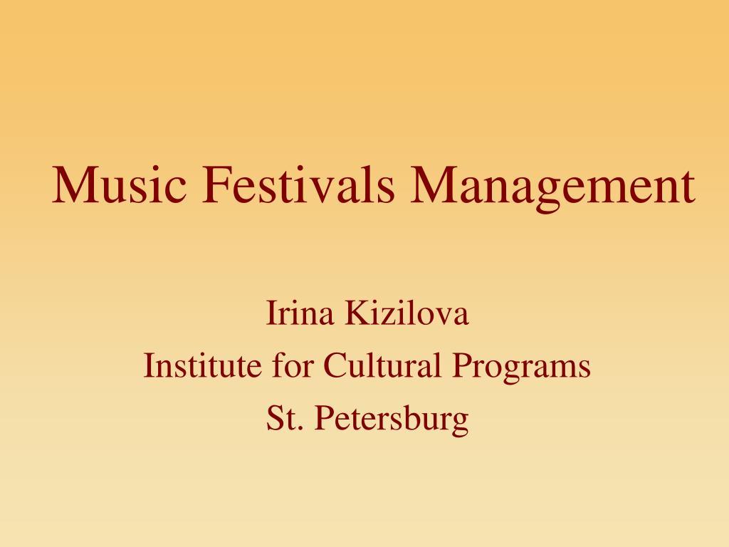 music festivals management l.