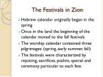 the festivals in zion