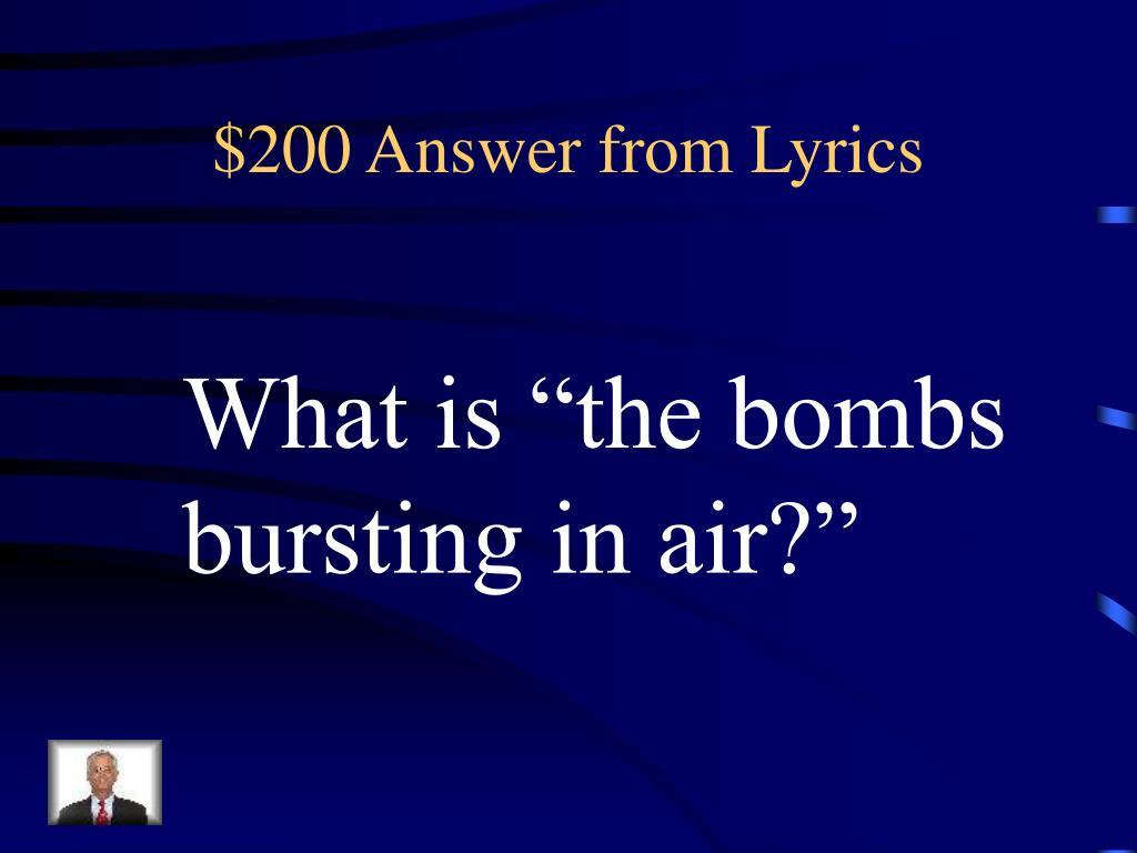 $200 Answer from Lyrics