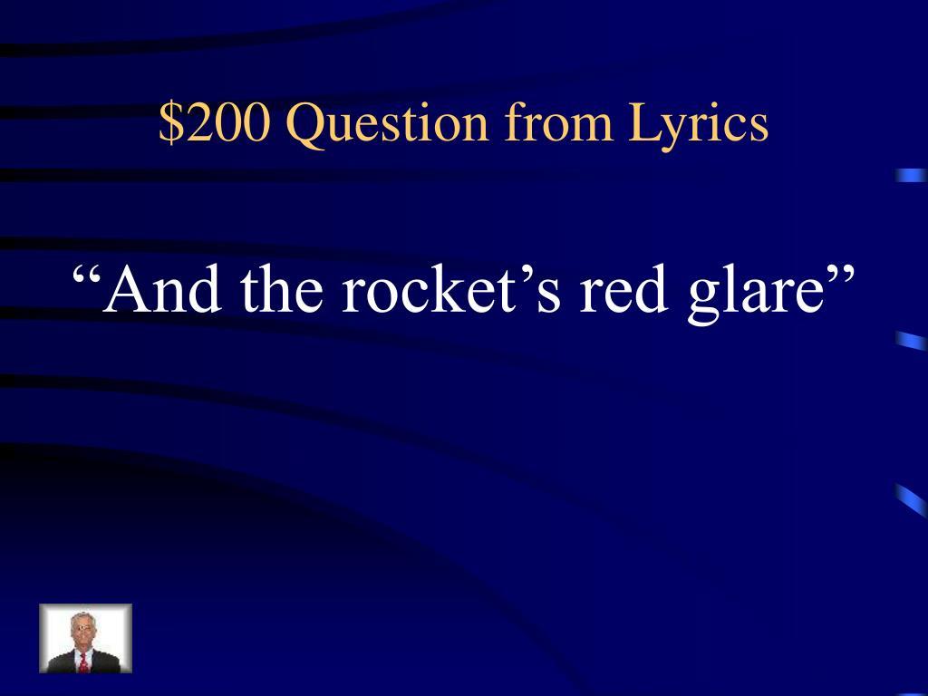 $200 Question from Lyrics
