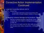 corrective action implementation continued