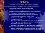 dfmea design failure mode and effects analysis