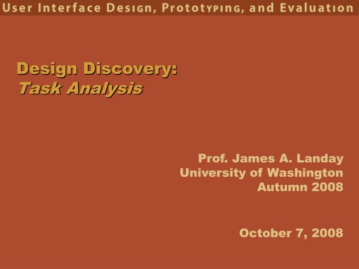 design discovery task analysis n.