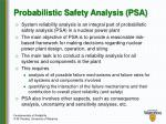 probabilistic safety analysis psa