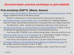 document basis previous workshops on grid reliability