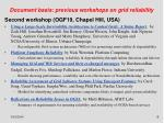 document basis previous workshops on grid reliability6