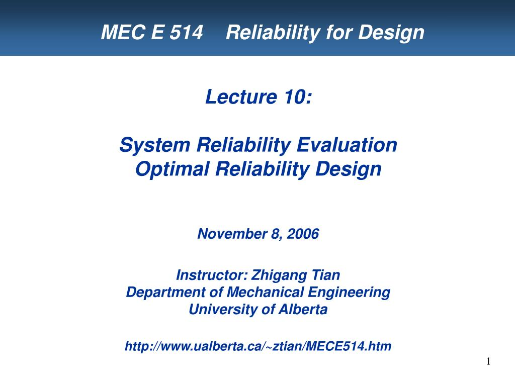 mec e 514 reliability for design l.