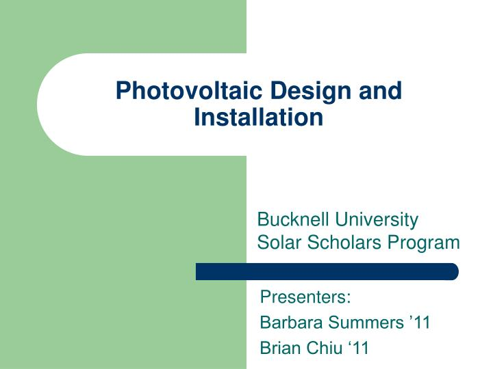 photovoltaic design and installation n.